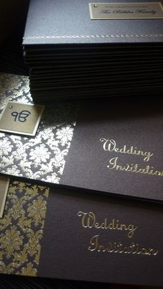 Sikh wedding invitations in chocolate brown and gold. Cheque book style opening. www.sijara.co.uk