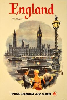 Di Maulo Floreani - Original vintage travel poster advertising England by Trans-Canada Airlines Posters Uk, Retro Poster, Vintage Travel Posters, Poster Poster, Vintage Advertisements, Vintage Ads, Vintage London, Retro Airline, Vintage Airline