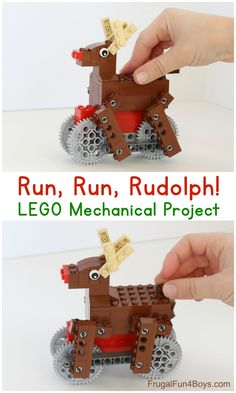 Run, Run, Rudolph LEGO Building Instructions - Build a reindeer whose feet run along when you push him! Lego Activities, Fun Activities For Kids, Crafts For Kids, Lego Ornaments, Mechanical Projects, Construction Lego, Lego Christmas, Christmas Recipes, Crafts