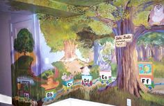 Mural for playroom for children, home in Newton, all four walls painted and ceiling. Surround scene.