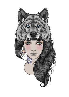 wolf women illustration - Buscar con Google