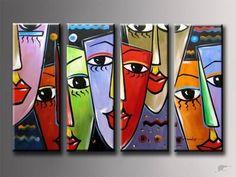 faces - Modern art I like - Animal Drawings, Art Drawings, Pintura Graffiti, Modern Art, Contemporary Art, Tableau Pop Art, 3 Piece Canvas Art, Art Visage, Face Art