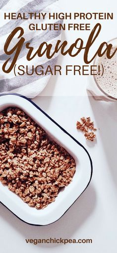 Delicious homemade sugar free, gluten free granola for any diet with 5 grams of protein in 1/4 cup! Vegan, gluten free, paleo.