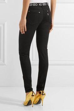 KENZO - Printed Mid-rise Skinny Jeans - Black - FR36
