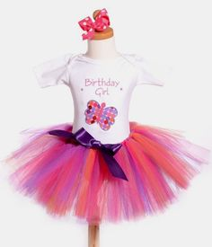 Pink Fancy Colorful Butterfly First Birthday Tutu Outfit