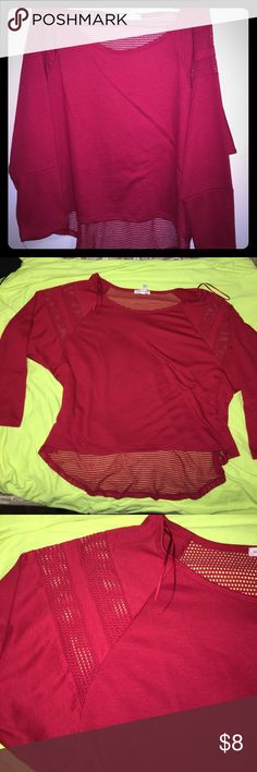 Women's Top Red, casual top with net type style, 70% polyester, 30% Rayon and the contrast of the net is 67% polyester, 28% Rayon, 5% spandex Ambiance Apparel Tops Tunics