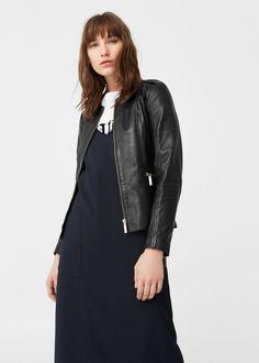 Kožená bunda se zipy - Žena | MANGO Česká republika