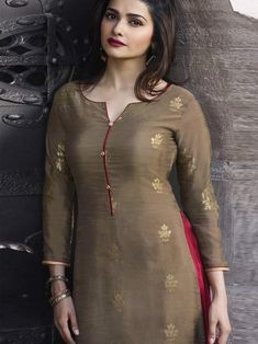 Work: Stones Work Kurti Color: Beige, Pink Kurti Fabric: Jacquard Silk, Satin Note: The color of the actual product may vary slightly from the displayed photo due to environment conditions during photography and different settings of Display Devices. Salwar Kameez Neck Designs, Punjabi Suit Neck Designs, Neck Designs For Suits, Sleeves Designs For Dresses, Dress Neck Designs, Blouse Designs, Dress Indian Style, Indian Dresses, Pakistani Dresses