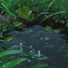 ghibli water animated gif - i like rainy day Anime Gifs, Anime Art, Arte 8 Bits, Rain Gif, The Garden Of Words, Japon Illustration, Animation Reference, Rain Animation, Aesthetic Gif