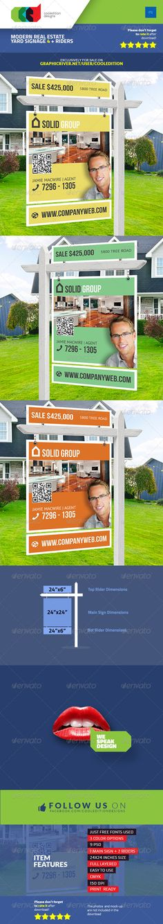 Modern Real Estate Yard Signage 4 + Riders — Photoshop PSD #for sale #exterior • Available here → https://graphicriver.net/item/modern-real-estate-yard-signage-4-riders/7505681?ref=pxcr