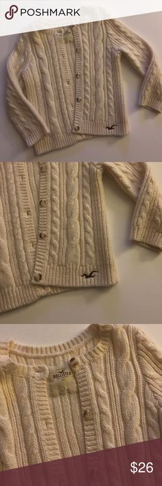 HOLLISTER CHUNKY KNIT CARDI excellent condition, oatmeal in color, chunky knit, warm. size L fits med/small Hollister Sweaters Cardigans