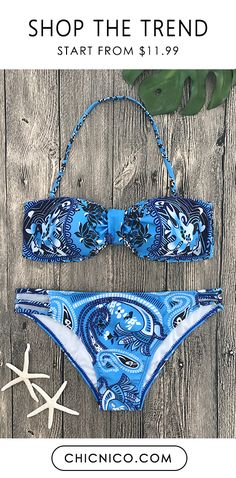 $25.99 Boho Sailor Inspiration Floral Print Bikini Set