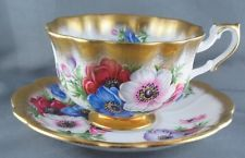 Royal Albert Gold Crest Series Anemone Fluted Heavy Gold Floral Cup Saucer
