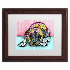 "Trademark Art 'Lying Boxer' by Dean Russo Framed Graphic Art Size: 11"" H x 14"" W x 0.5"" D, Matte Color: White"