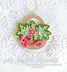 Handcrafted Polymer Clay floral Basket Ornament