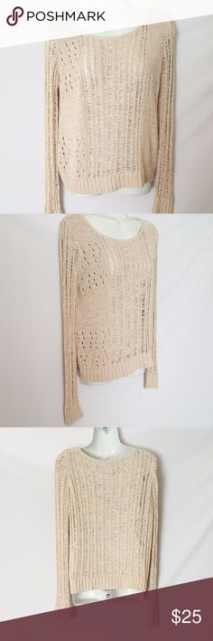 Cynthia Rowley Tan Metallic Knit Sweater Cynthia Rowley See through tan knit sweater with gold metallic thread woven throughout.  Acrylic, nylon blend.  Measurements:  Bust 21 inches across 22.5 inches long  Size medium Cynthia Rowley Sweaters Crew & Scoop Necks