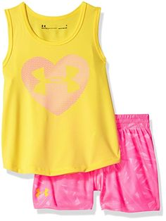 aba64e5aeb278 Under Armour Toddler Girls' UA Tank and Short Set, Penta Pink, 3T ...
