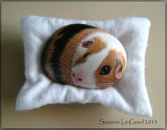 Pebble art, 'Charlie' the Guinea Pig. Pebble Painting, Pebble Art, Stone Painting, Rock Painting, Painted Rock Animals, Painted Rocks, Stone Crafts, Rock Crafts, Animal Room