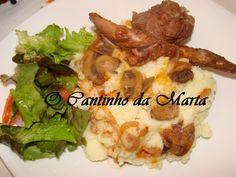 O Cantinho da Marta: Coelho Estufado com Cogumelos e Puré de Batata