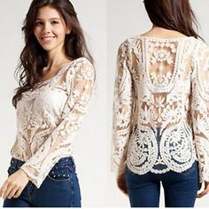 2798cbd525 $6.23 - Women's Semi Sheer Sleeve Floral Lace Crochet T-Shirt Top Blouse  #ebay #Fashion