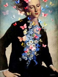 At first glance, the art of Catrin Welz-Stein looks like  an oil painting slowly built up layer by layer.  Catrin does carefully layer each element in her work but she does that in a thoroughly modern way.  She tears apart old photos, pictures and illustrations and then meticulously combines them in Photoshop to create her own unique image.
