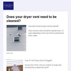 Does your dryer vent need to be cleaned? How often should a dryer vent be cleaned? Dryer exhaust vents should be cleaned every years depending o. Dryer Exhaust Vent, Clean Dryer Vent, Cleaning Air Vents, Reading, Reading Books