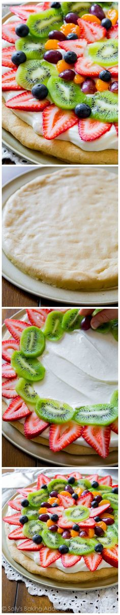 Classic colorful fruit pizza on a soft sugar cookie crust and topped with creamy thick cream cheese frosting. Recipe found on sallysbakingaddic...
