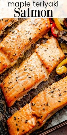 This Maple Teriyaki Salmon with Veggies is a hearty and delicious weeknight dinner for your family! Salmon fillets are soaked in a maple teriyaki marinade and baked with your favorite vegetables. #teriyakisalmon #maplesalmon #salmondinner #dinnerideas