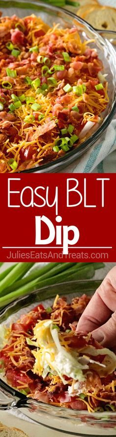 Easy BLT Dip ~ Take Your Favorite Summertime Sandwich and Make it into a Dip! Layers of Lettuce, Bacon, Cheese and Tomatoes! The Perfect Dip for a Party During the Summer Months! via @julieseats