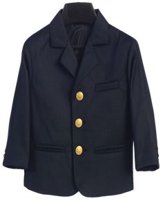 Navy Blue Blazer Jacket w Gold Anchor Buttons (Boys from 18 months to size 14)