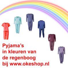 Pyjama's in kleuren van de regenboog bij okeshop.nl