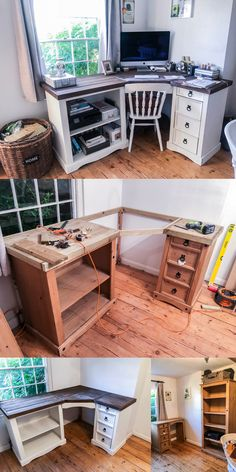diy desk New DIY Wooden Shabby - doityourself Shabby Chic Desk, Shabby Chic Bedrooms, Shabby Chic Homes, Shabby Chic Furniture, Diy Furniture, Furniture Movers, Small Bedrooms, Master Bedrooms, Luxury Furniture