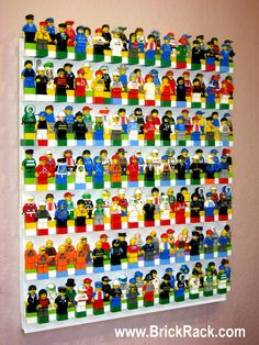 BRICK RACK Lego Minifigure Display holds up to 175 Minifigs. Uses your Lego bricks. http://www.brickrack.com