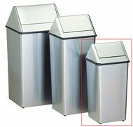 36 Gallon Metal Stainless Steel Swing Top Waste Receptacle - outdoor & indoor trash cans, recycle bins, & ashtrays for commercial, office or home.