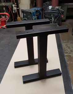 "Black Flat Industrial ""T"" Legs. Coffee Table Metal Legs, End Table Legs, Bench Legs, Modern Steel Legs, Dining Bench Legs, Set of 2 Legs"