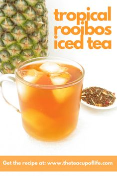 This rooibos iced tea recipe begins with an herbal blend, and includes tropical and citrus juices that make it a thirst-quenching drink for the summer!