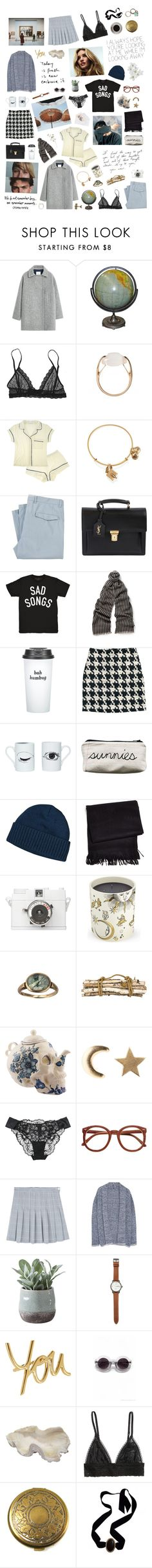 """""""Where did your heart go missing"""" by bitofbritt ❤ liked on Polyvore featuring MANGO, Eberjey, Salvatore Ferragamo, Alex and Ani, Yves Saint Laurent, Gucci, Bow & Drape, H&M, DOMESTIC and Patagonia"""