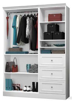 Bestar - Versatile White 61'' Extra Storage Wardrobe - 40870-17