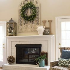 My fireplace was a big time diamond in the rough until it was painted.  I never cease to be amazed at the transforming power of paint.  The gate-like wall plaque from @kirklands was exactly what I needed to complete the makeover!