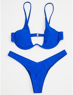 6cf81ff0e3 Women s Strap Blue Gray Wine Triangle Thong Bikini Swimwear - Solid Colored  Basic S M L   Sexy