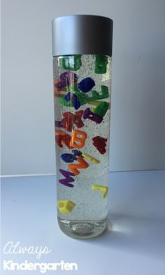 Easy to make ABC calming jar! Preschool Letters, Letter Activities, Preschool Art, Sensory Activities, Preschool Activities, Literacy Games, Summer Activities, Calming Bottle, Calming Jar