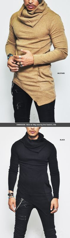 Tops :: Knits :: Unbalance Turtle Shirring Pocket Long-Knit 74 - Mens Fashion Clothing For An Attractive Guy Look