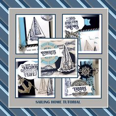 Stampin' Up June 2019 Sailing Home Tutorial, Me, My Stamps and I Birthday Delivery, Lovely Tutorials, Happy Birthday Gorgeous, Nautical Cards, Frame Crafts, Mothers Day Cards, Artist Trading Cards, Handmade Birthday Cards, Tampons
