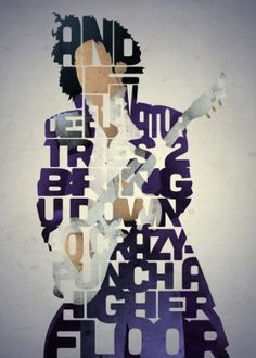 "Prince Typography Poster | ""And if The Elevator Tries To Bring You Down Go Crazy Punch A Higher Floor"""