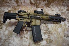 "The Honey Badger - LWRC Spartan XIPHOS Burnt Bronze AR-15/M4 SBR 8"" 5.56 NATO"