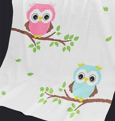 (4) Name: 'Crocheting : Baby Blanket / Afghan 'Baby Owls'