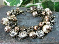 Typewriter Key Charm Bracelet