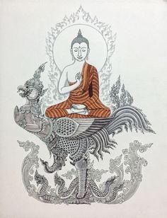 เหนือผืนฟ้าผืนน้ำ Above the sea and the sky #buddha #art #thai #drawing #thaiart #ink