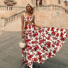 Sheinstreet Fashion stylish Sexy Midriff Baring Off Shoulder Floral Printed Maxi Dress Bohemian Summer Dresses, Summer Dresses For Women, Spring Dresses, Summer Outfits, Maxi Dress With Sleeves, The Dress, Lace Skirt, Boho Fashion, Fashion Dresses