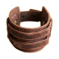 Hot sale Bracelet Punk Men Leather Wristband Retro Tribe Cuff Bangle Brown BA